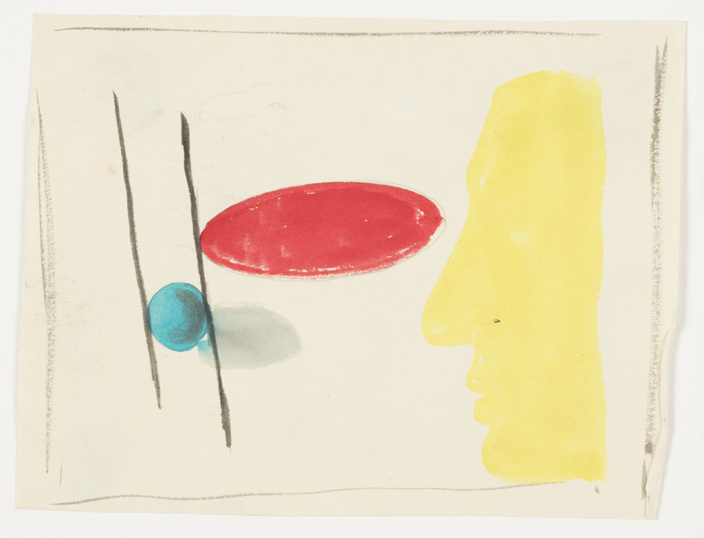 Study of an abstract composition. At right, an abstracted face in left profile, depicted in yellow silhouette. In the center, at eye level of the face, a wide red oval. To the left, two parallel, vertical lines in black, with a blue sphere between the lines towards the bottom. Surrounding the image, rough framing lines in black.
