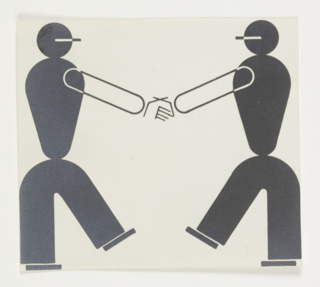 Study of two abstracted figures, facing one another and shaking hands. The figures' bodies are depicted in black, with arms and hands in black outline. One leg of each figure is raised towards the center.
