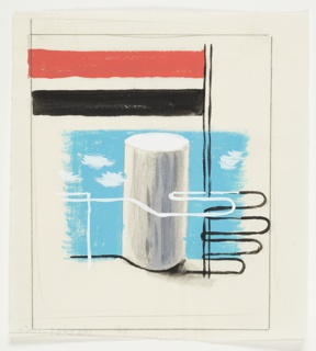 Study of an abstract motif. At center in foreground, the outline of a hand in black and white, holding a flagpole with a two long pendants flying to the left. The rectangular pendant on top is red, and the pendant below is blue. In the background, behind the hand, a white and gray cylinder against a blue sky with white clouds. Surrounding the image, framing lines in graphite.