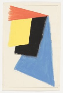 Design for an abstract motif, comprised of overlapping geometric shapes. A red triangle, positioned above a yellow parallelogram superimposed over a black shape, and a blue triangle. Surrounding the image, graphite framing lines.