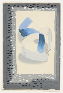 Blue and white ribbons intertwined to form an abstract composition at center. Surrounding the image, a gray rectangluar frame speckled with white and black dots.