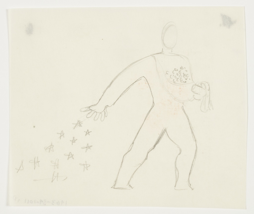 Study of a figure scattering stars. The figure, rendered in outline, walks to the right, and scatters a trail of stars behind them. The stars are cast from an apron tied around the figure's neck, which is gathered up in the figure's left hand to hold a bunch of what are likely more stars.