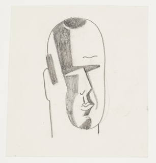 Study of a human face, turned a quarter right and shaded in a Cubist manner. The head is shaded to indicate a receding hairline.