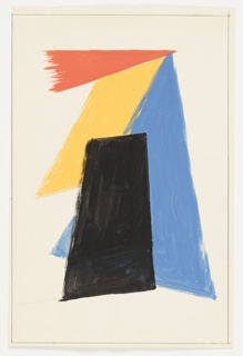 Design for an abstract motif, comprised of overlapping geometric shapes. A red triangle, positioned above a black trapezoid superimposed over a yellow parallelogram, and a blue triangle. Surrounding the image, graphite framing lines.
