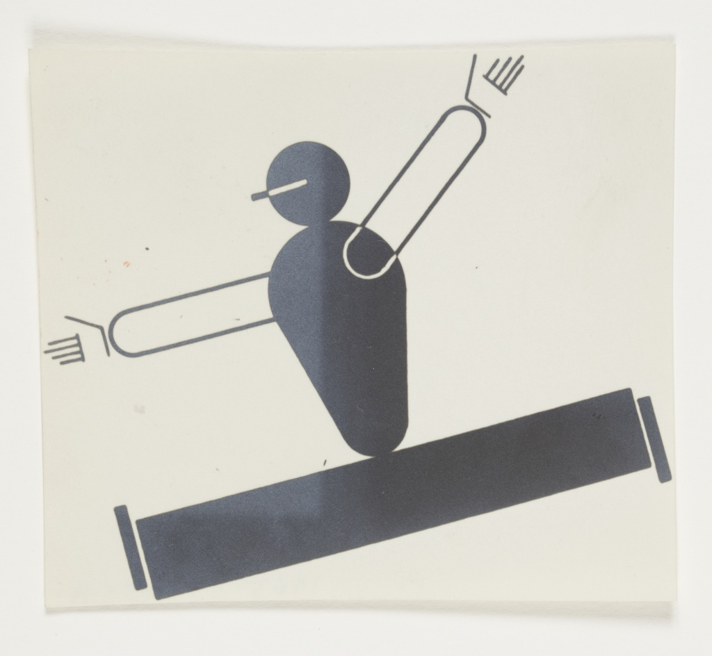 Study of an abstracted leaping figure. The figure's body is depicted in black, with arms and hands rendered in black outline. The figure leaps to the left with legs and arms spread wide.