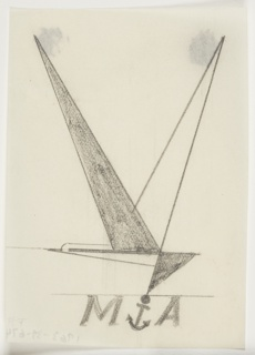 """Study for British airline company, likely Marine Air Navigation Co. At center, a bird in flight, abstractly rendered in overlapping triangles, over a bar from which a ship's anchor is suspended. On either side of the anchor, the letters """"M"""" and """"A"""" in italics."""