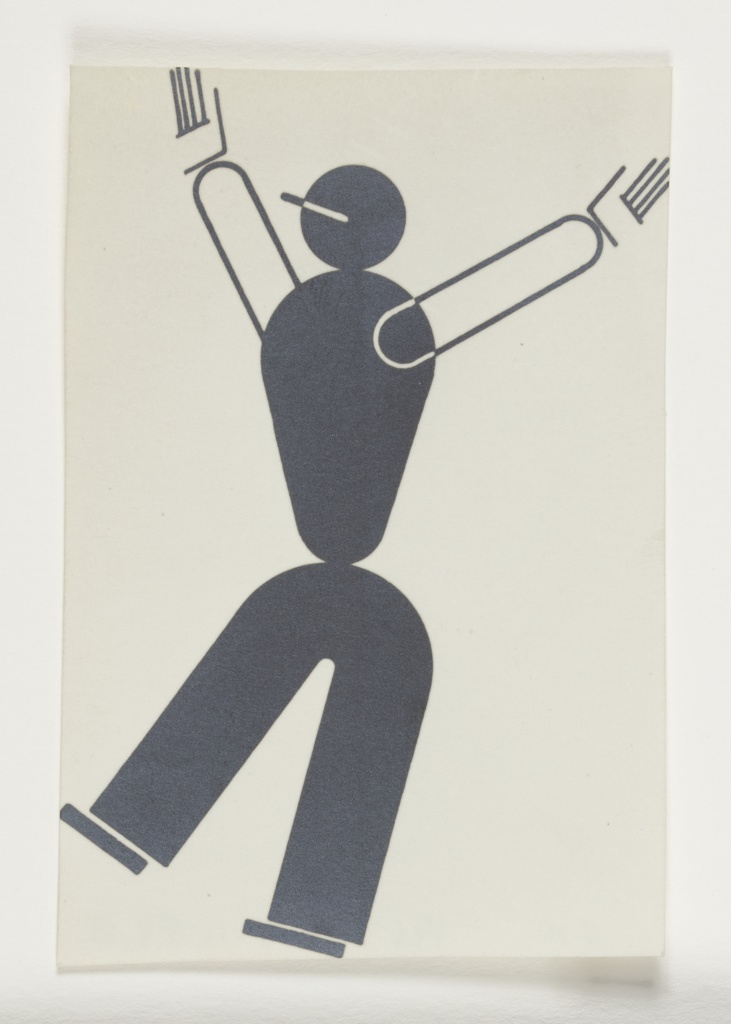 Study of an abstracted figure leaning backwards on one leg with both arms raised above their head. The figure's body is depicted in black with the arm and hand depicted in black outline.