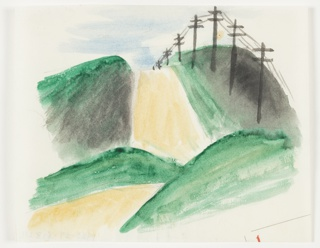 "Study for ""You Can Be Sure of Shell"" advertisement. View of a road traversing a hilly landscape. Electric wires line the right side of the road."