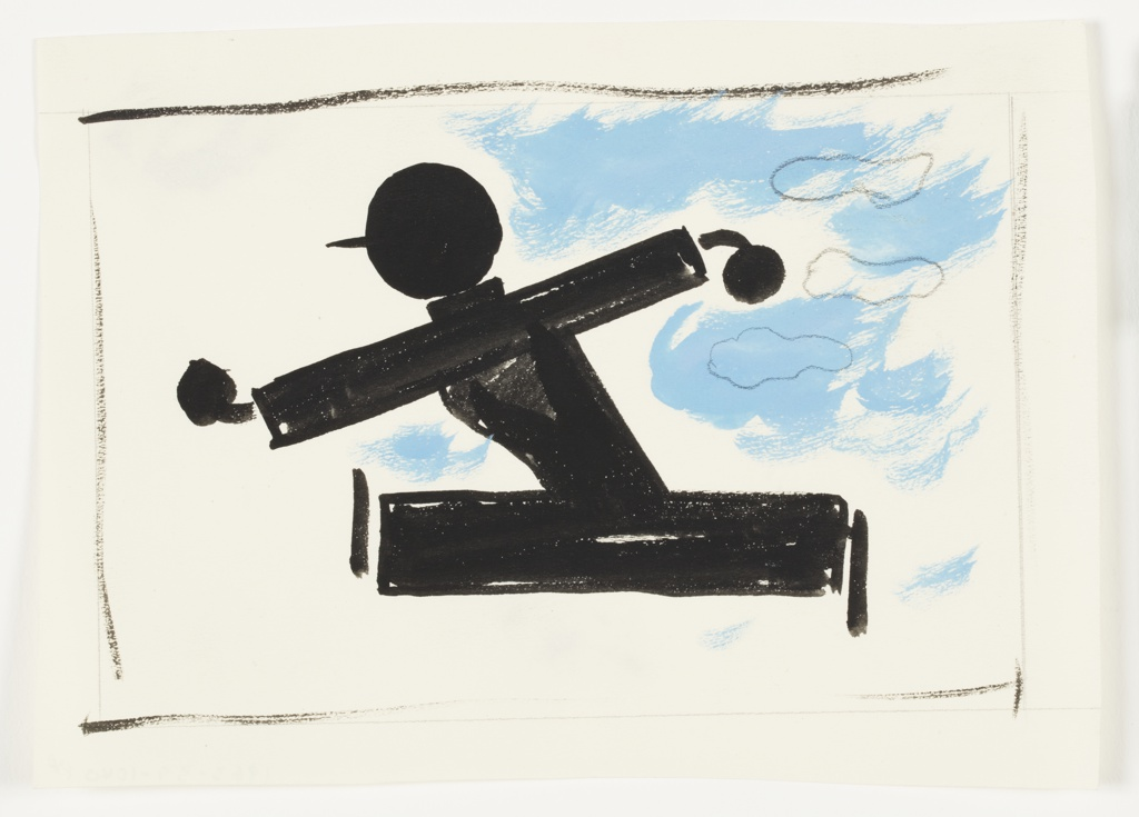 Study of an abstract figure, depicted in black silhouette, seen running to the left with legs and arms extended wide. The figure is depicted wearing a baseball cap. To the right, a cloudy blue sky. Surrounding the image, rough black lines indicating framing.