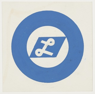 """Study for a symbol for the Orient Line. A white, cursive letter """"L"""" on a blue parallelogram, which is inscribed within a large, blue letter """"O""""."""