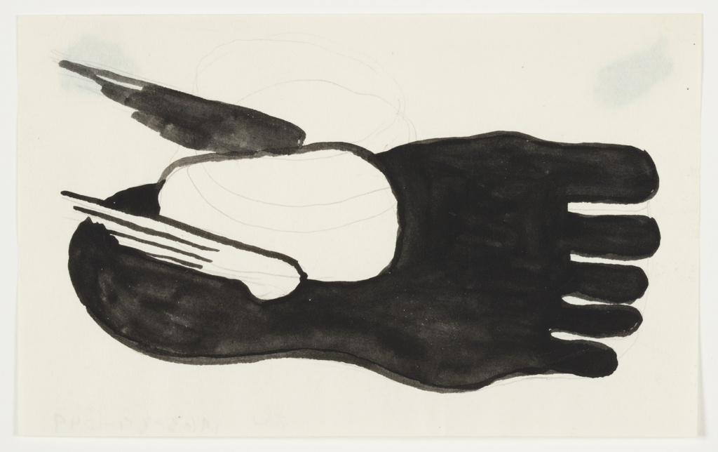 Study of a motif, featuring a winged, right foot with toes pointing to the right. The foot is depicted seen from above, and rendered in black. On either side of the ankle, a small wing. The wing on the right side (at bottom) in white, and the wing on the left side (at top) in black.