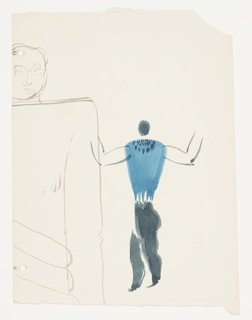 Two studies of figures. One figure at bottom center, a figure turned to the left depicted with a blue spotted top and gray pants, with arms rendered in outline (without hands) and head rendered as a gray sphere. Along left edge of page, a second larger figure, seen from the waist up, depicted in gray outline.