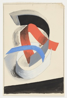 Black, blue, red, and white ribbons intertwined to form an abstract composition. Across bottom of the page, inverted black trapezoid filling the bottom of the page.      Surrounding the image, framing lines in graphite.