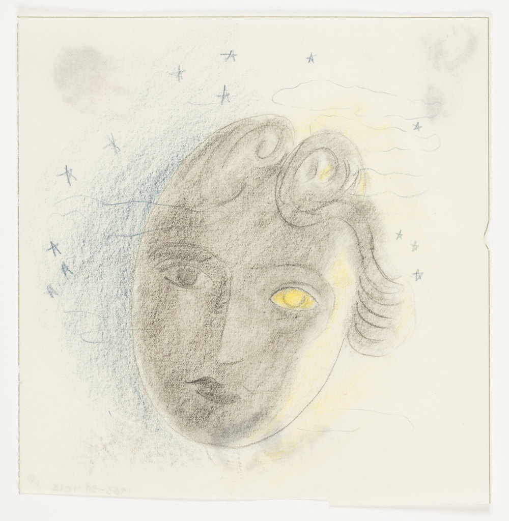 At center, a semi-abstractly rendered face seen frontally. The face has two large curls of hair at their forehead, and their left eye is yellow. Behind the face, a starry sky shaded half in blue (at left) and half in yellow (at right). Surrounding the image, framing lines in graphite.