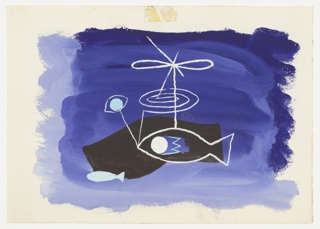 Study for an abstract composition with two fish. At center, a fish in white outline and a large white eye. A spiral, ribbon tied in a bow, and a blue eye extend out of the fish above. Below, to the left, a small blue fish in blue. Composition is set against a purple and black ground.