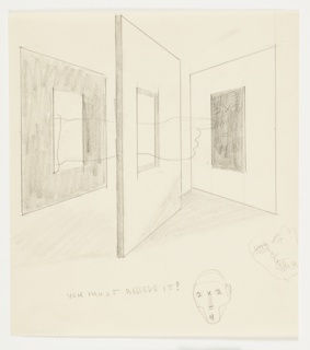 """Study for the artist's holiday card sent in 1934. At center, the outline of an arm reaches through a window cut through two sequential wallsand points to a blackboard inscribed with """"2 x 2 / = / 4."""" Below, two sketches of heads, likely studies for other campaigns. The face of one head is rendered with the same mathematical equation from the blackboard. The face of the otherhead is rendered with a crossword-like arrangement of the word: """"UNDERGROUND"""""""