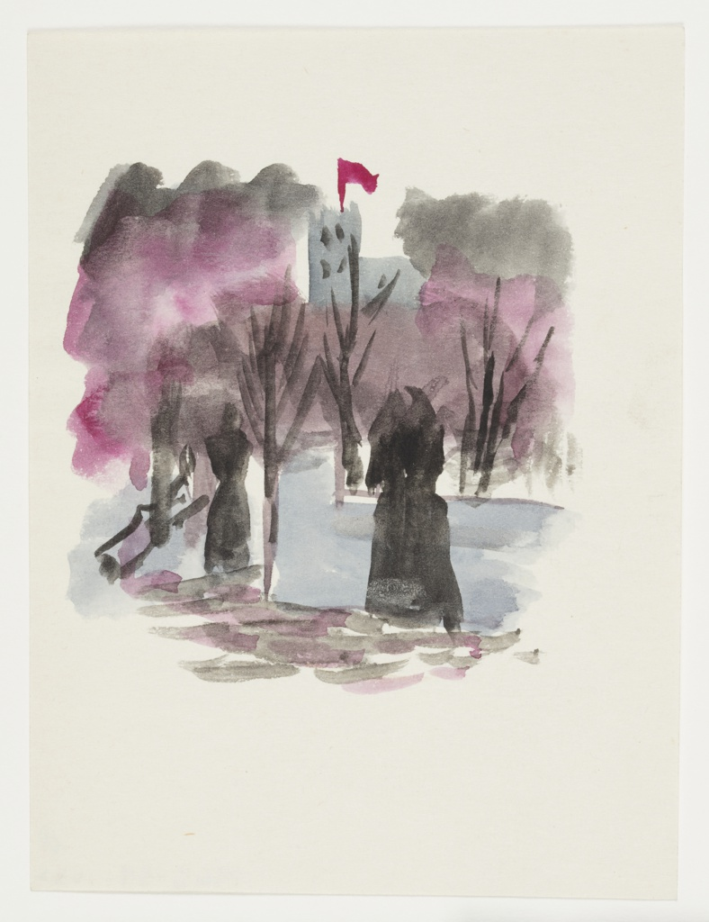 Study of a purple forested landscape, with two figures in depicted in black silhouette in foreground, and a castle turret with a red pendant flying from the top in the background.