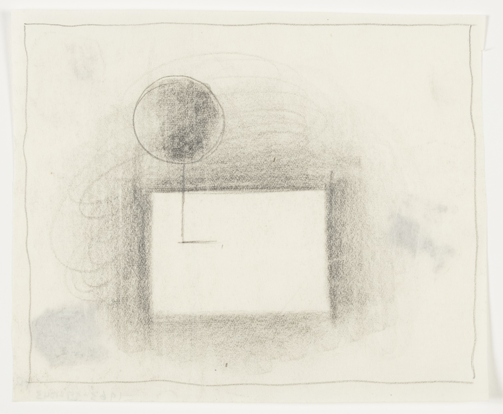 Study of an abstract composition. At center, a rectangle formed by the negative space from shading around the outside edges of the shape. Above the top left corner of the rectangle, a circle, partially shaded. An L-shaped line connecting the two shapes, extending into the middle of the rectangle. Surrounding the image, framing lines in graphite.