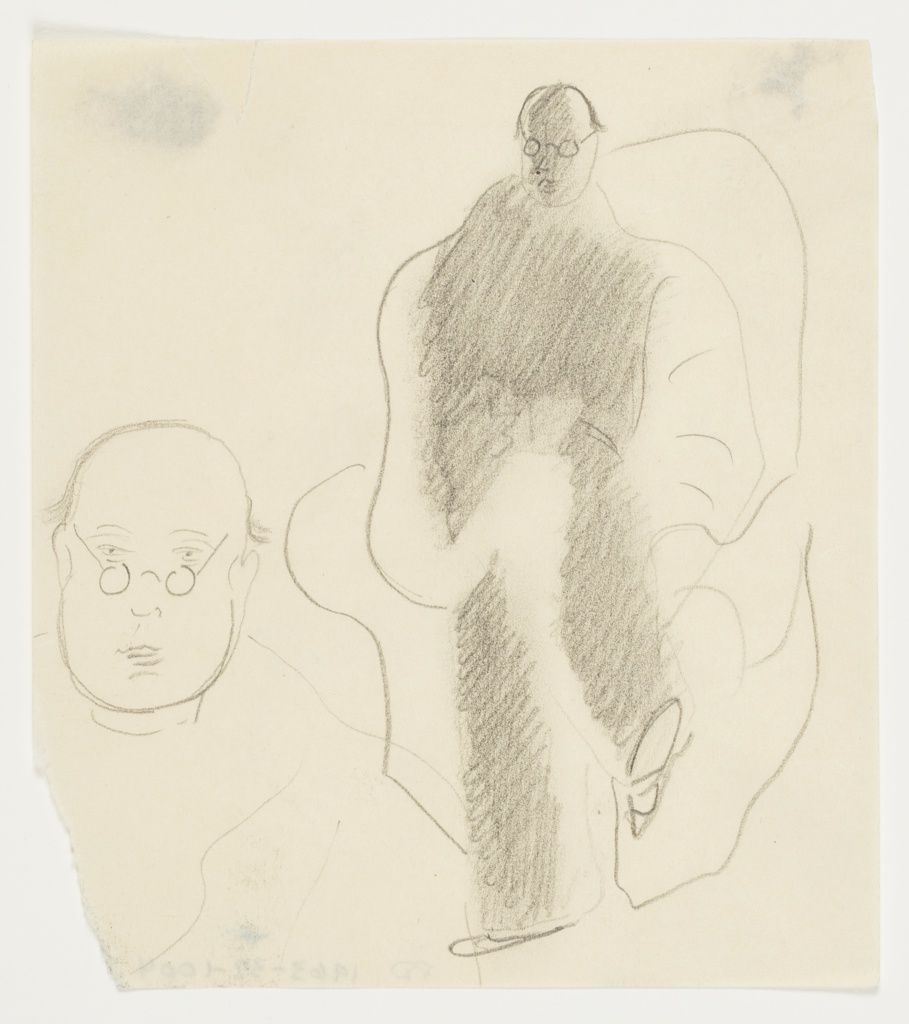 At right, study of a figure seated in an armchair with legs crossed, and reading a book positioned in the figure's lap. The figure has round spectacles on their face. At left, a close up study of a face, resembling the seated figure. The face is depicted frontally, with spectacles on the face, and a bit of hair at the back of the head.