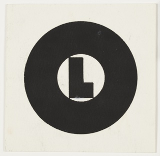 "Study for a Symbol for the Orient Line. A black, sans-serif letter ""L"" on white ground, inscribed within a large letter ""O"""