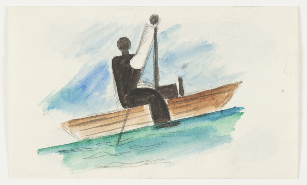 Study of a seated figure in a wooden boat. The figure is depicted in a simplified silhouette, facing to the right with one leg extended straight, and right leg bent hanging over the side of the boat. The figure's right arm is extended straight up above its head and holds a long paddle or oar. Behind the figure and boat, a blue sky, and below, green and blue water.