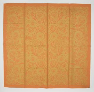 Linen damask tablecloth with an all-over design of stylized roses, in bright orange and gold.