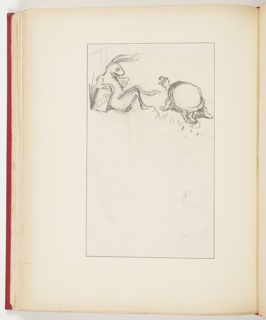 Upper left, profile of rabbit sitting, with legs crossed, arm leaning on labelled book, left arm on hip. Upper right, turtle, with mouth open.