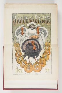 Smiling woman, with head tilted, holding plate with turkey. Behind, two turkeys wearing chefs caps, left, holding carving fork, right turkey holding knife. Below, giant turkey standing on pumpkins. Pumpkins arranged in a semi-circle, spelling out the word Thanksgiving.