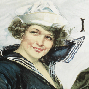 """On white background to the left is a young woman wearing a sailor uniform.  She smiles, grabbing her shirt while a gust of wind blows from behind.  To the right the text reads: """" Gee!! I Wish I Were A Man/ I'd Join the Navy"""".  At bottom center: """" Be a Man And Do It/ United Stated Navy Recruiting Station""""."""