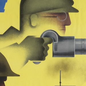 Horizontal rectangle. A side profile of two men.  The man above is wearing a work hat and glasses using a rivet gun.  The bottom man is a soldier using a machine gun. Starting from the upper left corner, in blue text: GIVE 'EM / BOTH BARRELS