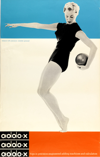 Poster divided into three registers: blue at top, white at center and black and orange at bottom. At right, a black and white photograph of a woman (Anita Ekberg), represented full length, wearing shorts and a top streches her arm across the blue section of the poster at top. She is balanced on her toes, with her knees bent and carrys a large ball behind her. At lower left the title is repeated three times, printed in white on a black square: addo-x / addo-x / addo-x; in white on orange rectangle: tops in precision engineered adding machines and calculators. The Ben-Day dots of the graphic process are prominently visible on the figure.