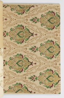 Contains matched sets of sidewall, frieze and ceiling papers. Designs include floral patterns, medallions, and swags. Lots of metallic colors.