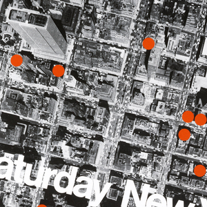 Black and white photograph of bird's eye view of New York City with several red dots around. Across the poster in white ink: Designer's Saturday New York sept. 21 22 73.