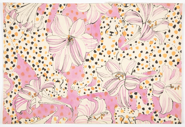 Textile design consisting of cream and pink striped flowers with orange centers, along with orange and black-spotted cheetahs, against a pink background with orange spots. The cheetahs initially appear to be part of the background and are not immediately visible.