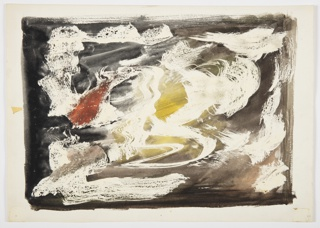 Study of an abstract composition. Against a brown and yellow rectangular ground, white brushstrokes with a red splotch at center left.