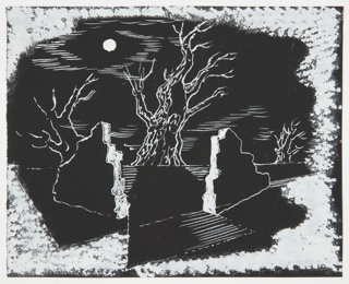 Study of a moonlit landscape, with two pieces of a ruined wall in the foreground. In the background, along the horizon, three gnarled, bare trees. A full moon shines in the sky above at left. Image is surrounded by sponge-like shading in white.