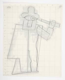 An abstracted figure depicted in outline is shown on a grid in graphite. The figure's left side is cloaked by a cape, and it holds a telescope up to its eye.