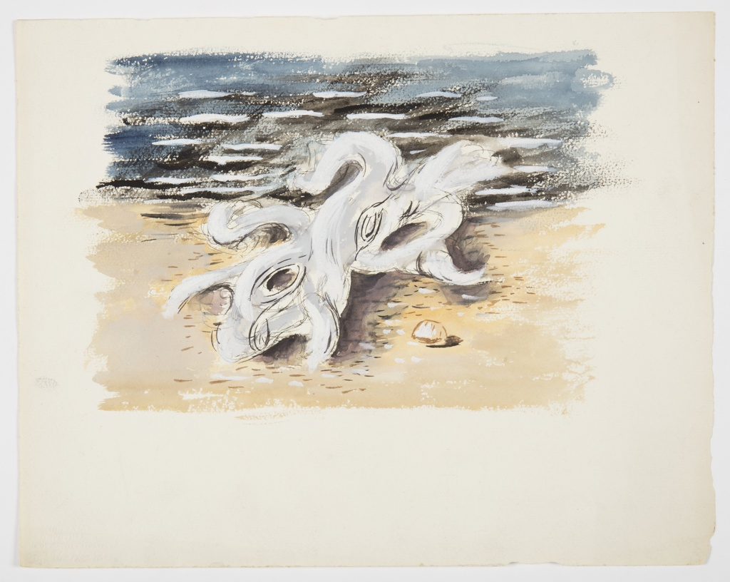 Study for an illustration or a motif. At center, a bare, gnarled piece of drift wood on a sandy beach, with the blue water in the background. At right, a small shell rendered in outline sits on the sand.