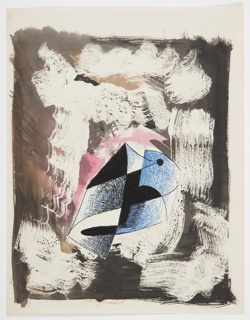 Study for an abstract composition. Against a brown ground with various white brush strokes surrounding it, an abstract composition in blue and black.