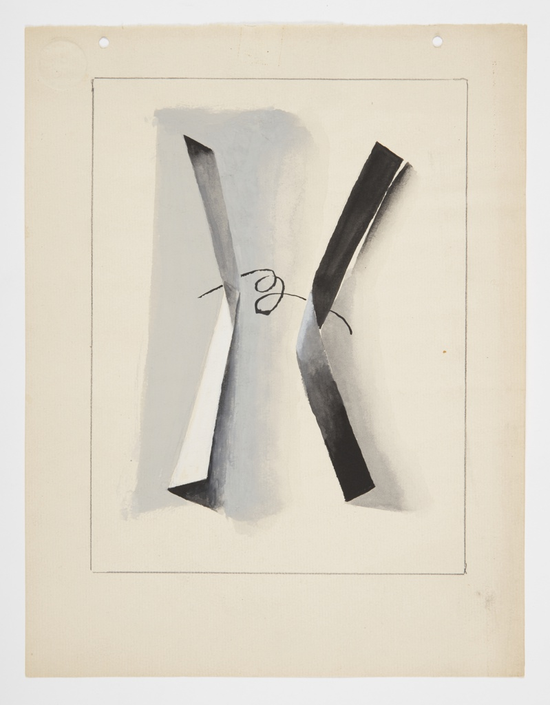 Study for an abstract composition with two twisting gray ribbons, positioned vertically, with a looping black line connecting them at center. A gray ground partially indicated behind. Surrounding the image, graphite framing lines. At top of page, two hole punches at left and right.