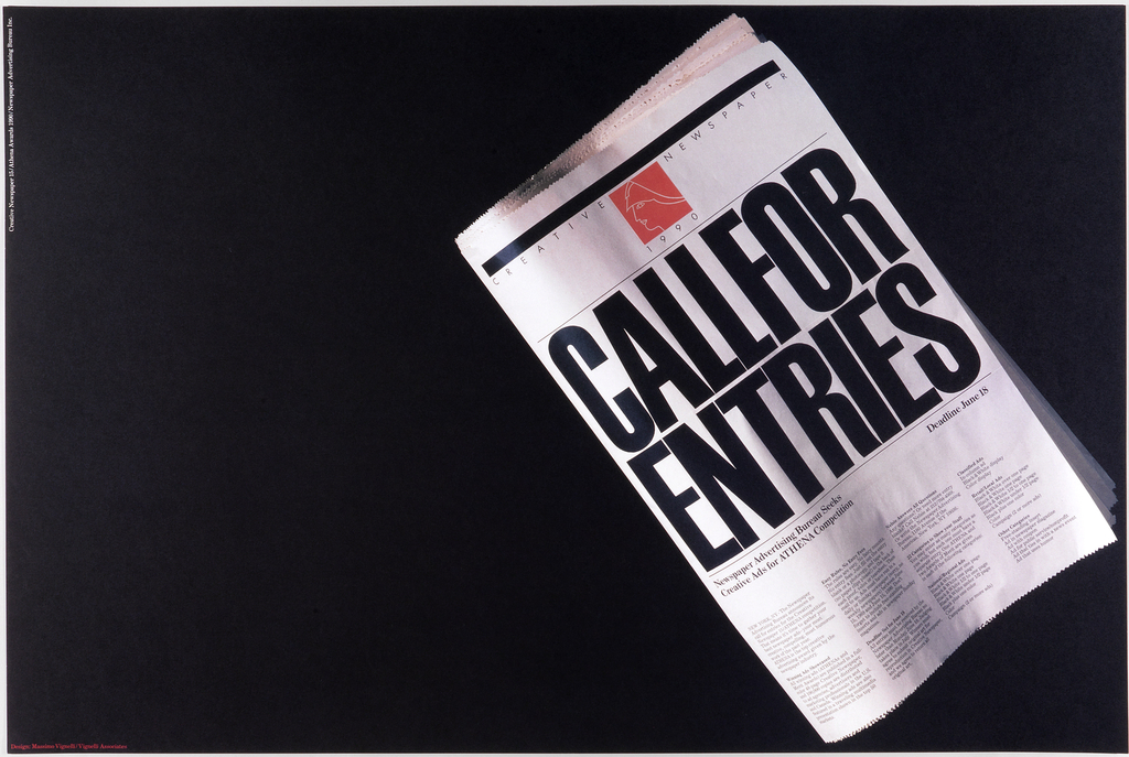 On a black ground, an image of a newspaper with large print: CALL FOR / ENTRIES; columns of text.