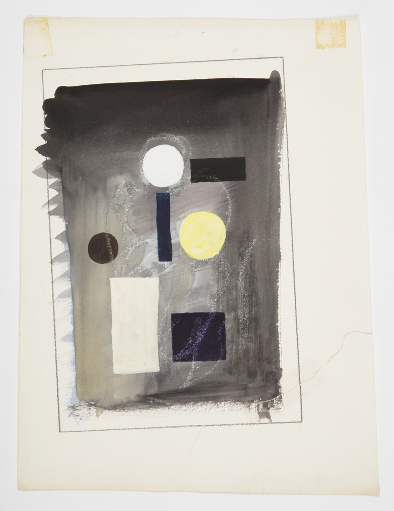 Study for an abstract composition with different shapes. Against a dark gray ground, an arrangement of three circles (in yellow, white, and brown), a cube (in purple), and three rectangles (in white, blue, and black). Surrounding the image, framing lines in graphite (at an angle compared to the orientation of the page).