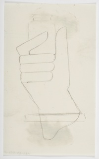 Drawing, Study of a Hand Holding a Bottle