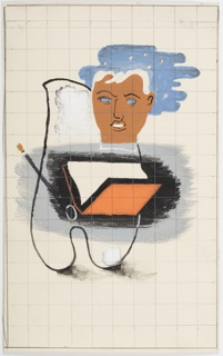 Study for an advertisement featuring an abstract composition of an artist's palette, paint brush, open book in red, and a floating human head before a starry sky. Over the entire image, graphite grid lines.
