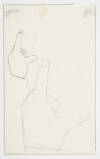 Drawing, Two Studies of a Gesturing Hand and Dial