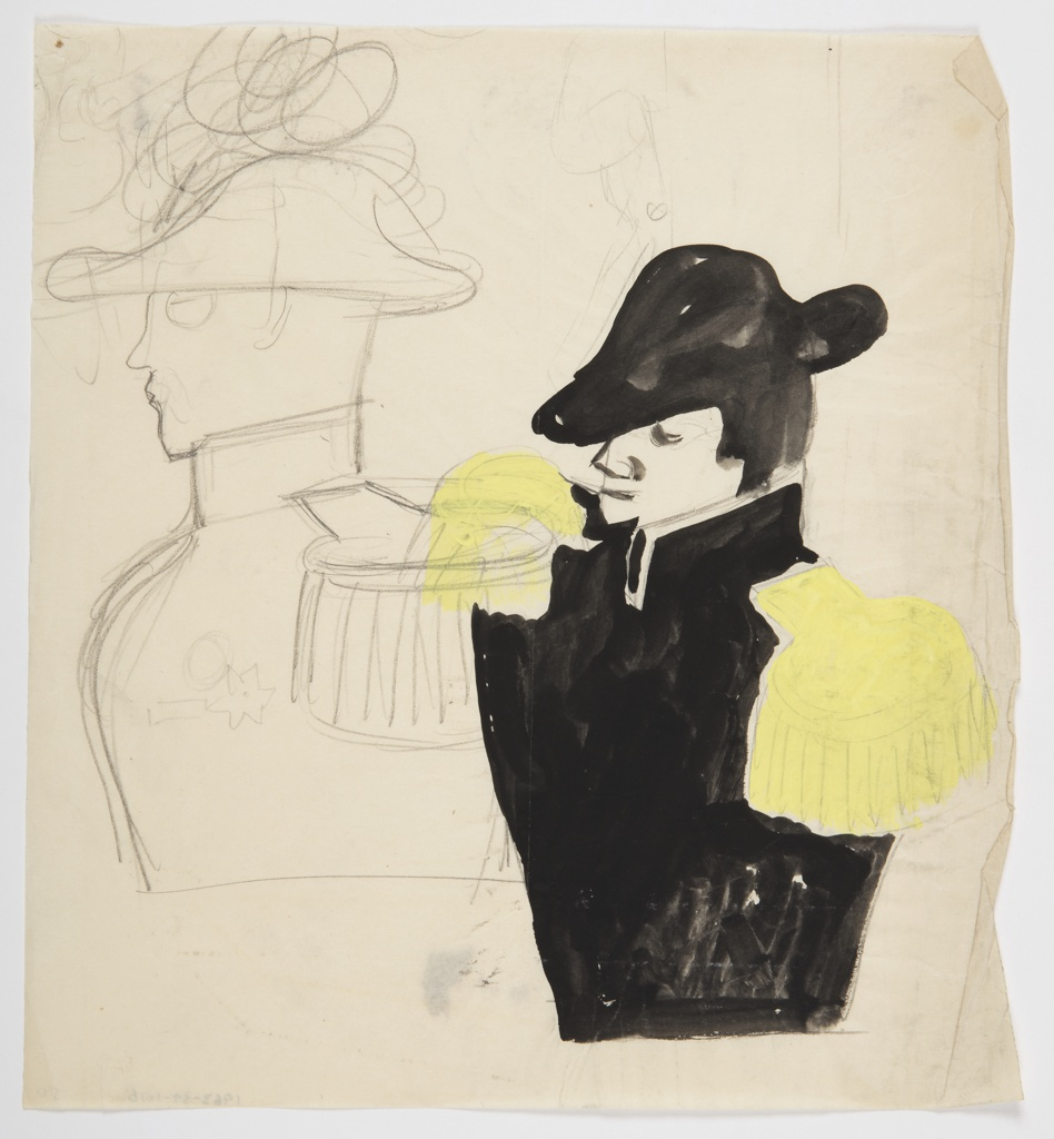 Two studies of a military figure (one in color at bottom right, and one in outline at upper left) dressed in a bicorne hat, with a black jacket and yellow epaulettes. The figure is depicted from the waist up in left profile.
