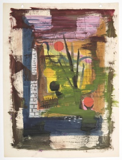 Study of a colorful abstract composition, possibly a depiction of an outdoor scene with a picket fence, visible through a stone window.