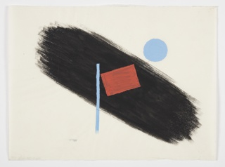 """Study for """"You Can Be Sure of Shell"""" advertisement. At center, a red rectangle rests on top of a horizontal blue line. Behind, a thick black brushstroke forms the background. To the left of the black brushstroke, a blue circle."""