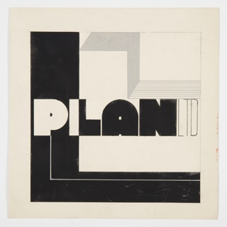 Design for a motif or logo for Plan, Ltd., a British furniture company founded by Serge Ivan Chermayeff. Across middle, in black and white block lettering: PLAN; in black thin lettering, directly adjacent: LTD. The background is formed by a large L-shaped black shape that frames the left and bottom, and a gray zig zag shape in upper left corner. On the left and top, framing lines in graphite.