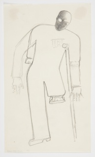 Study of an abstracted figure facing frontally, leaning on a crutch. The figure's left leg is amputated at the thigh, and the pant leg has been bunched at the end of the limb. A similar bunching is indicated at the figure's elbows, perhaps suggesting other directions for the study. The figure's hands are depicted as curling spirals and their face is darkly shaded. On the figure's chest, a line of medals.